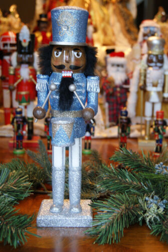 African American Ethnic Black Silver and Blue Drummer Nutcracker