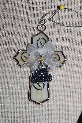 Stained Glass Cross with Best Friend Pedant/ Cream with Caramel Swirls