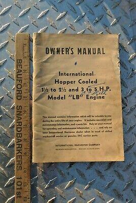 Original Ihc International Lb 1 12 - 3-5 Hp Hit Miss Gas Engine Owners Manual