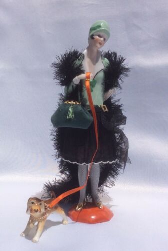 Vintage German Porcelain Half Doll,  Flapper with Legs, Demi-Figurine, Teepuppe