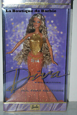 ALL THAT GLITTERS BARBIE DOLL, BARBIE DIVA COLLECTION, 55426, 2002, NRFB