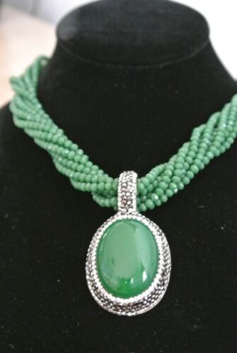 Turkish 5 Ct Jade Emerald 925 Sterling Silver Druzy Full Necklace