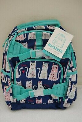 New NO MONO Pottery Barn Kids SMALL Navy Turquoise Kitty Cat Backpack Blue Teal ()