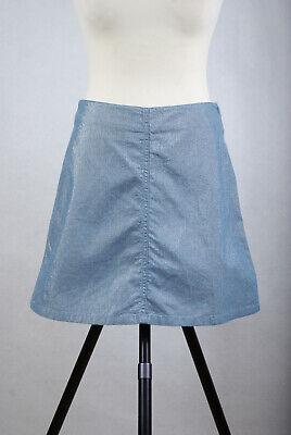 L104/L07 Katharine Hamnett Denim Blue Shimmering Cotton Mini Skirt size 28 UK10