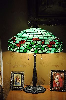 "Arts&Crafts,Art Nouveau Era Gorham""Red Rose"" Leaded Stained Slag Glass Lamp"