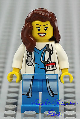 NEW Lego FEMALE DOCTOR Hospital Minifig w/White Lab Coat Shirt Torso -Nurse Girl, used for sale  Shipping to India