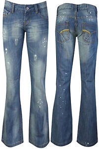 NEW WOMENS STRETCH BOOTCUT DENIM BLUE LADIES JEANS DISTRESSED PAINT SIZE UK 6-20