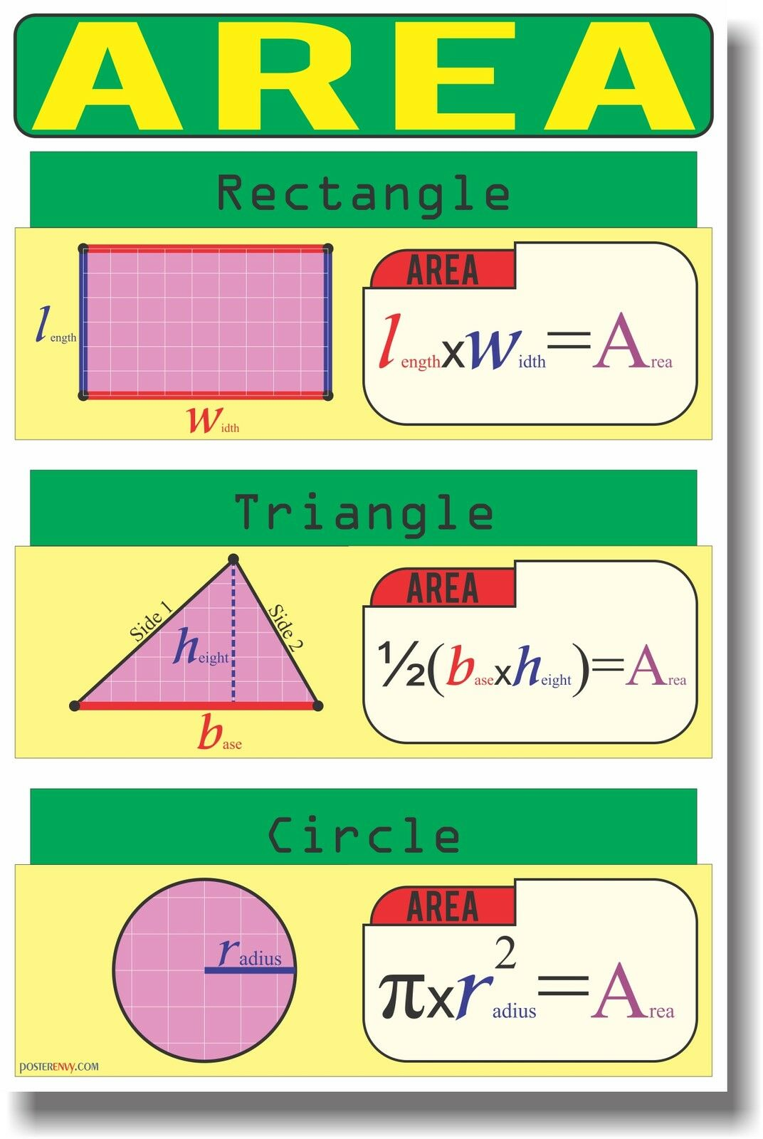 New math educational geometry classroom poster area ebay for Free travel posters for teachers