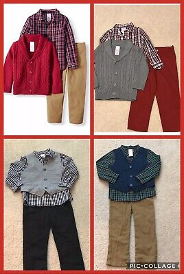 NEW Wonder Nation Toddler Boys, Sweater/Vest, Shirt and Twill Pants, -
