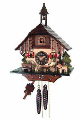 cuckoo clock black forest 1 day  german wood beer drinker mechanical
