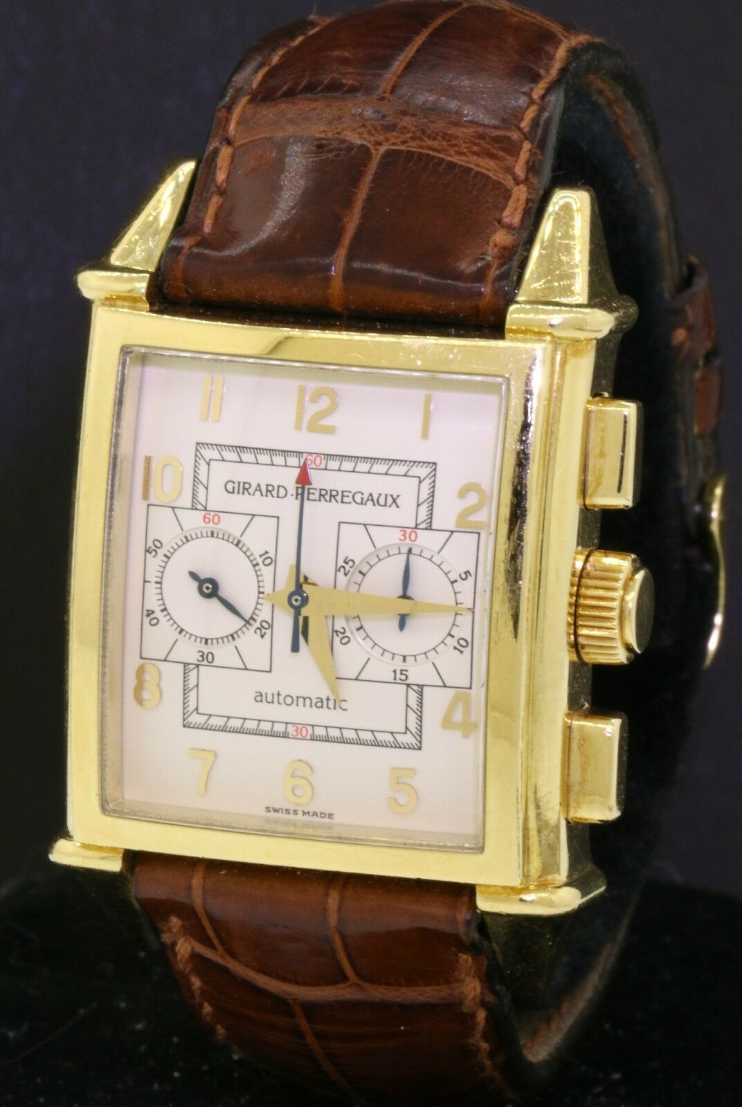 Girard Perregaux 2599 vintage 18K gold automatic chronograph men's watch - watch picture 1