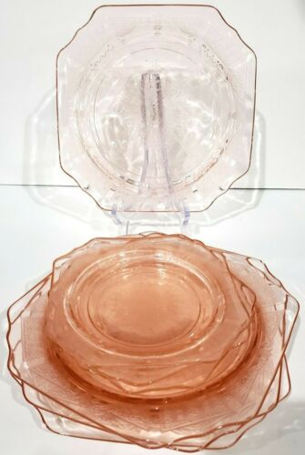 Anchor Hocking PRINCESS Pink Depression Glass 3 Bread & Butter 4 Salad Plates