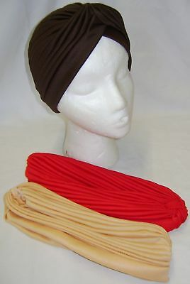 New 3 Stirnband Indischen Stil Turban-Hut Rot-Braun & Creme. Ideal für Chemo