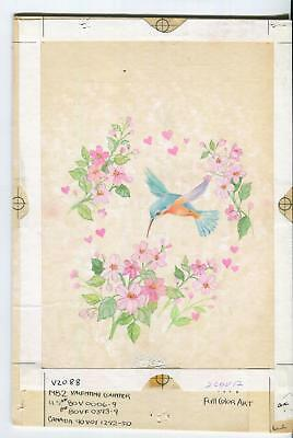 VINTAGE HUMMINGBIRD PINK HEARTS VALENTINE'S DAY TUNIC FLOWERS GARDEN PAINTING