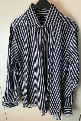 Ike Behar Classic Stripe 100% Cotton Men's Dress Shirt Spread Collar  XL 18 x 35