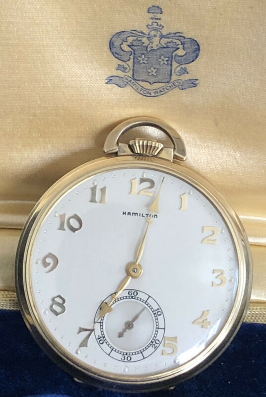 ANTIQUE HAMILTON GRADE 917 17 JEWEL 14K GF POCKET WATCH (with old case) Runs