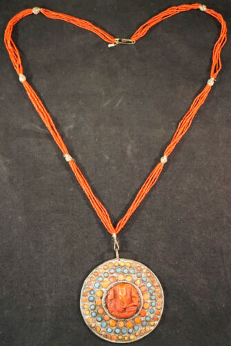 Old Tibetan Coral & Turquoise Pendant Necklace Set in Silver Hand Made
