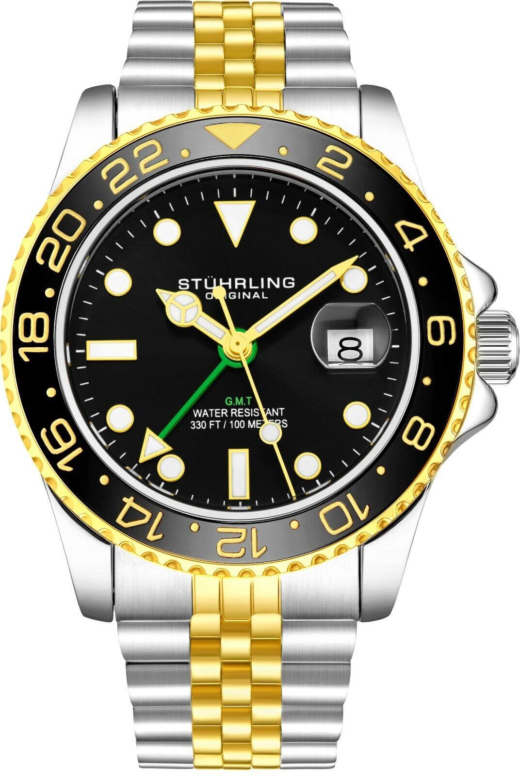 Stuhrling Aqua-Diver 3968 Suisse Quartz Homme 2 Tons Cadran Noir Bracelet Montre