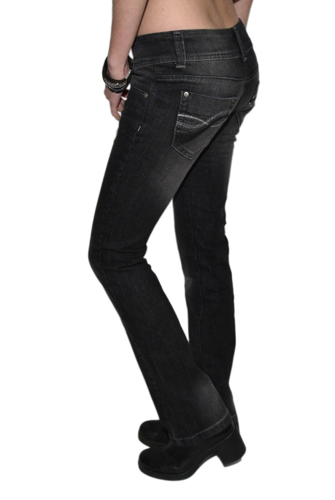 Damen Jeans Hose Hüfthose Schwarz Denim Stoff Straight Leg 2%Stretch Decon-Lisa-