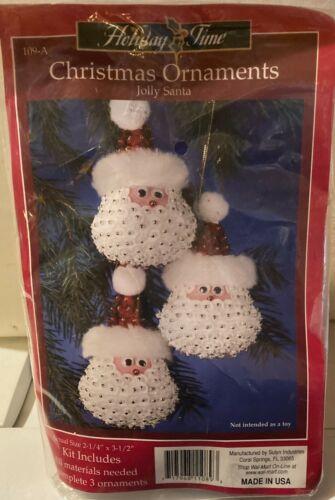 Sulyn ~Jolly Santa ~ Sequin Bead Christmas Ornament Kit  Makes 3