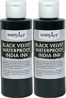 Lot of 2 Handy Art Black Velvet Waterproof India Ink 4 Ounce New! *SALE*
