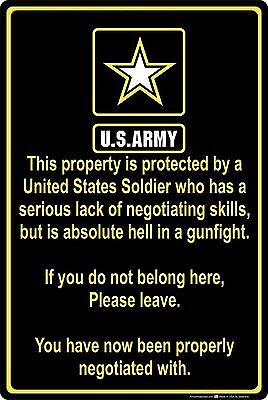 "Property Protected by Soldier U.S. Army 8"" x 12"" Aluminum Metal Sign"