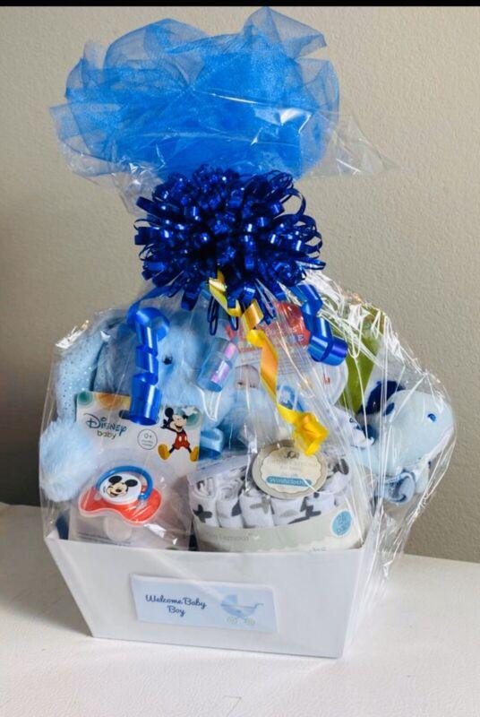 Newborn Infant Baby Boy Shower Gift Basket Set VALUE PACK