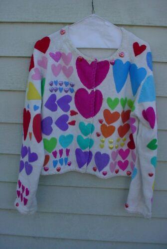Michael Simon Sweater  1996   HEARTS  Size L
