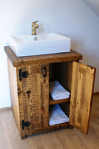 Rustic Sink Basin Vanity Unit Washstand Hardwax Oil Dark Oak