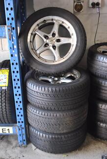 "4 SET 16""  COMMODORE WHEELS WITH TYRES + GOOD CONDITION"