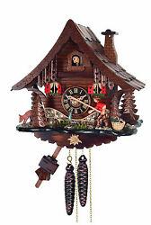 cuckoo clock black forest 1 day  german wood fisherman mechanical new