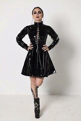 Misfitz black Pvc lace up skater mistress dress,size 20 TV Goth CD Steampunk