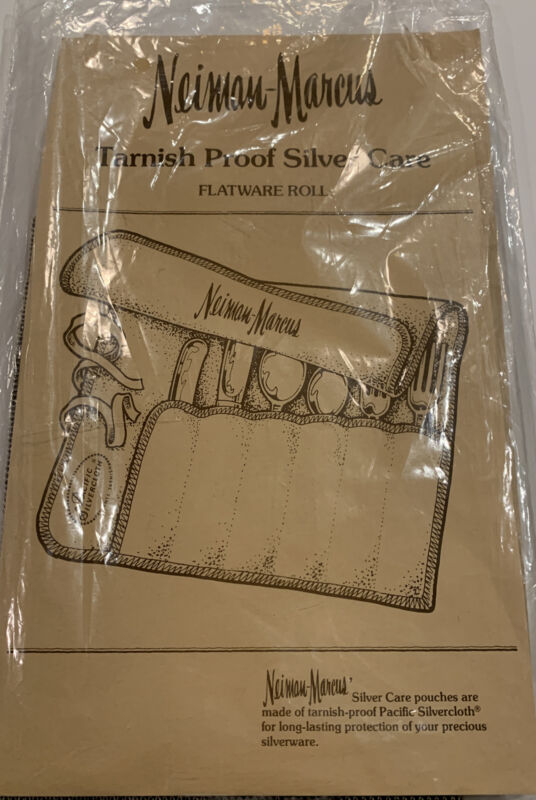 Neiman Marcus Silver Flatware Roll Up Storage Bags 6pc Place Setting New