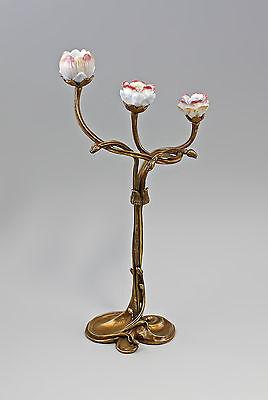 37463 Floraler Kerzenhalter mit Blütenbelag Keramik Bronze