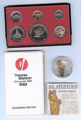 verschiedene Münzen USA,DDR und Skulpturmedaille, Lot