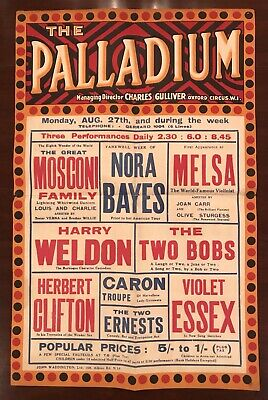 Original 1916 The London Palladium Vaudeville Poster Exceptional Colors & Design