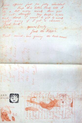 JACK THE RIPPER LETTER TO LONDON CENTRAL NEWS AGENCY 1888 ADVISING NEXT VICTIM