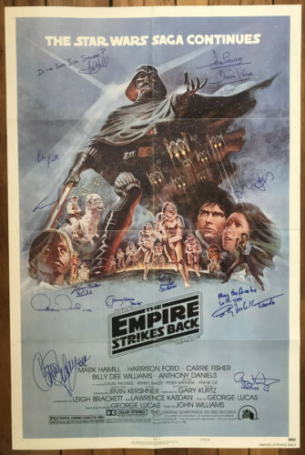AUTOGRAPHES SUR POSTER ORIGINAL STAR WARS EPISODE V (Fisher-Hamill-Ford-Lucas..)