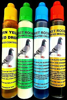 Racing Pigeons Birds Calcium D3 Oregano Multi Vitamins Yellow Drops Supplements.