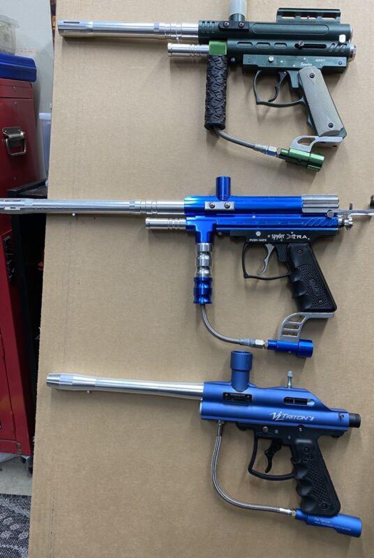 3x Spyder XTRA, Spyder Sport, VL Triton II Paintball Gun Lot