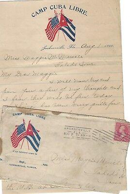 Spanish-American War Soldier's Letter: Camp Cuba Libre; Fine Florida Postmark