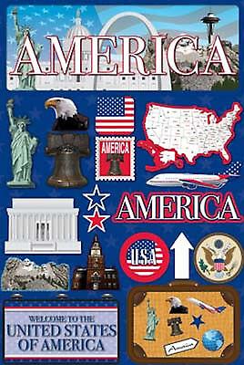 Reminisce 3-D LAYERED Stickers-AMERICA scrapbooking UNITED STATES State Usa Scrapbooking Stickers