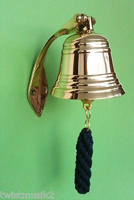 Schiffsglocke Glocke Messing 10 cm mit Halter und Glockenbänsel NEU Klingel