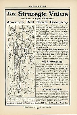 1904 American Real Estate Co  Ad New York City Properties Manhattan Bronx Shares