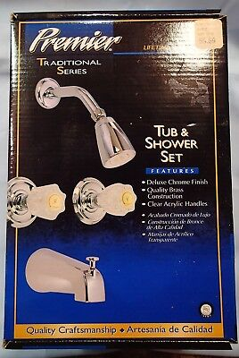 Brass Two Handle Tub -  Chrome Two Handle Tub and Shower Set, Brass Construction  #012032