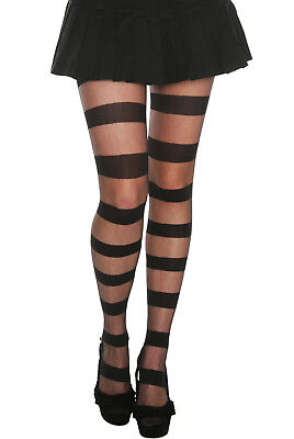 Striped Pantyhose (HOT TOPIC FASHION BLACK OPAQUE SHEER STRIPE FOOTED PANTYHOSE TIGHTS IN ML)