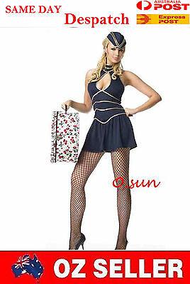 Air Stewardess Halloween Costume (Women AIR HOSTESS Airline Stewardess Costumes Halloween Fancy Mini Dress)