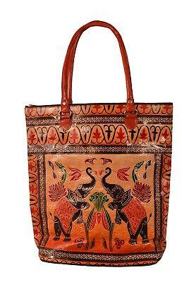 Royal Elephant Design Vintage Indian Shantiniketan Leather Tote Bag Banjara Boho