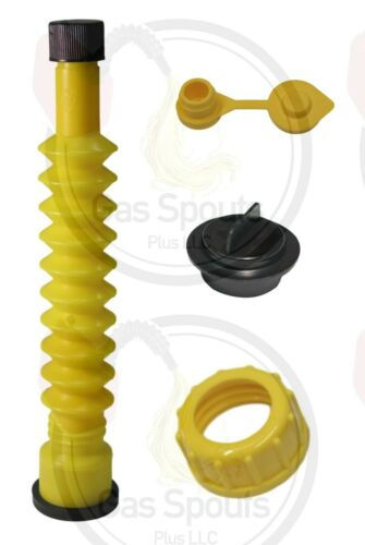 MIDWEST GAS CAN SPOUT KIT -Yellow Old School Spout, Stopper, Coarse Collar, Vent