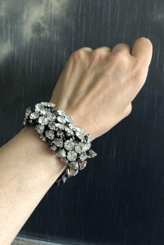 J.Crew Vintage Crystal Cluster Bracelet Solid Heavy Sparkly Statement Piece